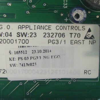Gorenje rezervni deo: ELEKTRONIKA UPRAVLJACKA PS-03 PG3 A: 184280, ID rezervnog dela: 165512